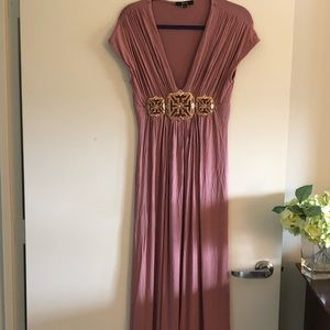 Sky Dusty Pink Jewel-encrusted Maxi Dress Size L